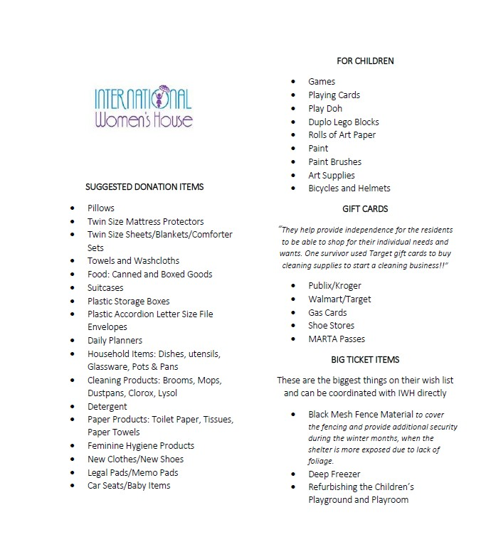International Women's House Suggested Donation Items